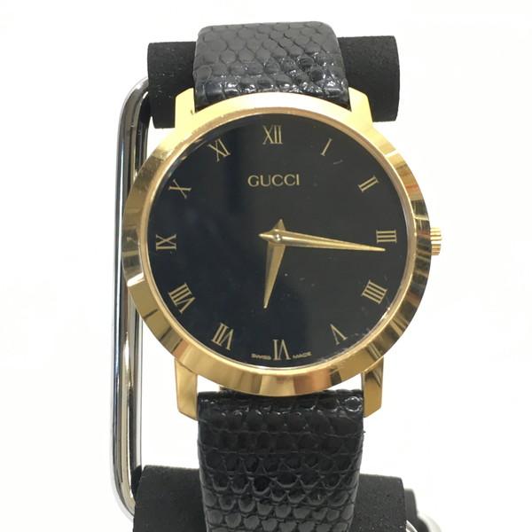 GUCCI グッチ 腕時計 2200M アナログ 時計 ウォッチ クォーツ レザー SS ステンレス ブラック ゴールド メンズ スイス製 三国ヶ丘店 512801 【中古】 RM0189D