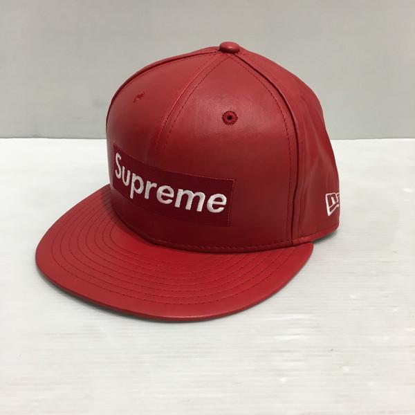 Supreme シュプリーム 15AW Leather Box Logo New Era ニューエラ レッド ユニセックス 三国ヶ丘店 490727 【中古】 RM251E
