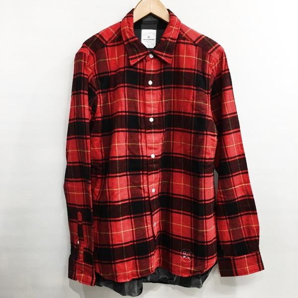 uniform experiment ユニフォーム エクスペリメント 17aw Double Layerd Flannel Shirt レッド チェック メンズ 3 日本製 三国ヶ丘店 530034 【中古】 RM3981
