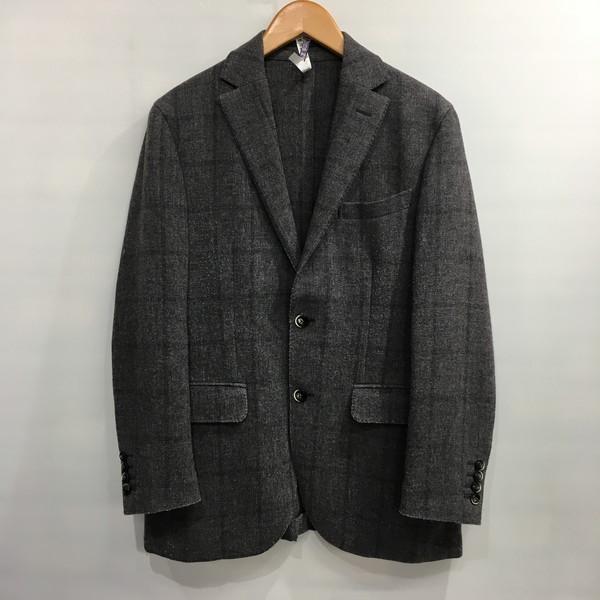 Lubiam ルビアム Wool Tailored Jacket ウールテーラードジャケット グレー チェック メンズ 46R イタリア製 三国ヶ丘店 366954 【中古】 RM4135