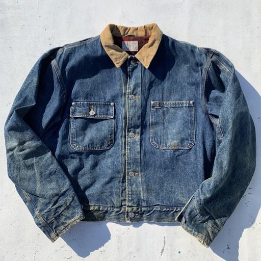 Polo Ralph Lauren ポロラルフローレン 80's 90's デニムジャケット ブルー チェック メンズ L USA製 ヴィンテージ 三国ヶ丘店 591547 【中古】 RM1107H