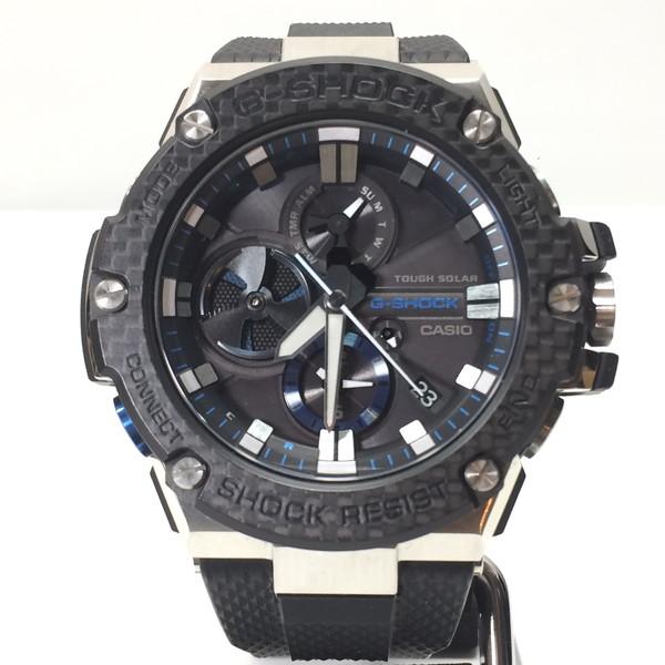 G-SHOCK ジーショック 腕時計 GST-B100XA-1AJF CASIO カシオ 電波ソーラー G-STEEL Gスチール アナログ ウォッチ ブラック ネイビー シルバー メンズ 三国ヶ丘店 648296 【中古】 RM0590D