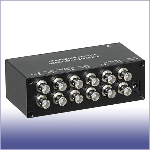 防犯カメラ 映像分配器 4入力8分配器 【AHD対応】