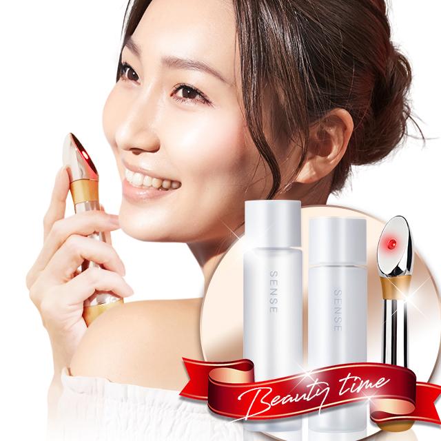 SENSIA & 高級美容ケアセット 美顔器 LED美顔器 センシア 美顔器led 赤 LED 韓国 SENSE センス 化粧水 乳液