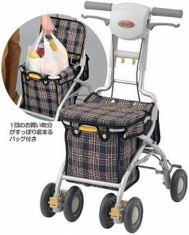 【送料無料】安寿 サンフィールS ショッピング/ 532-362 青チェック[ アロン化成 ]