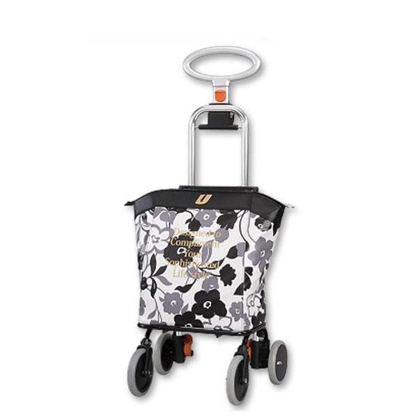 ●【送料無料】ショッピングカート アップライン UL-0218(花柄・ブラック)「他の商品と同梱不可/北海道、沖縄、離島別途送料」