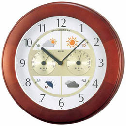 ☆EMPEX 掛け時計 ウォールクロック ウェザーパルII気象台 BW-5221 ブラウン