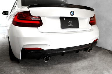 3D Design BMW マフラー φ90x2テール 品番:4101-22213 2シリーズ F22 220i/N20B20B