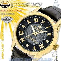 ☆J.HARRISON 4石天然ダイヤモンド付/ソーラー電波時計 JH-085MGB