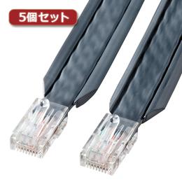 ☆【5個セット】 サンワサプライ アンダーカーペットLANケーブル(グレー・10m) KB-CP5-10X5