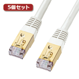 ☆【5個セット】 サンワサプライ カテゴリ7LANケーブル0.4m KB-T7-004WNX5