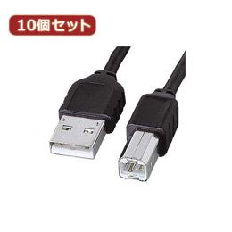 ☆【10個セット】 サンワサプライ エコ極細USBケーブル(スリムコネクタ) KU-SLEC2K KU-SLEC2KX10