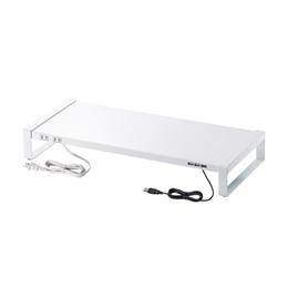 <欠品中 未定>☆サンワサプライ 電源タップ+USBハブ付き机上ラック(W600) MR-LC205W