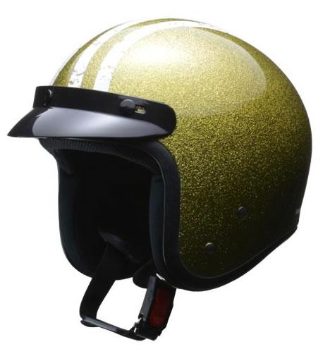 LEAD リード工業 ヘルメット FLAKER (フレーカー) バイザー付きスモールジェット ゴールド フリーサイズ (57-60未満) 【NF店】