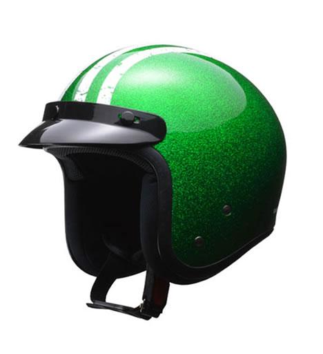 LEAD リード工業 ヘルメット FLAKER (フレーカー) バイザー付きスモールジェット グリーン フリーサイズ (57-60未満) 【NF店】