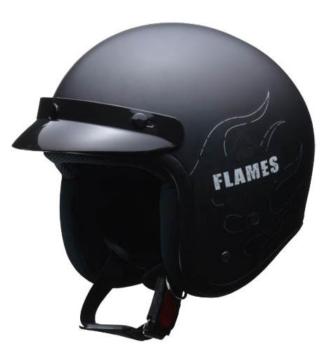 LEAD リード工業 ヘルメット FLAMES (フレームス) バイザー付きスモールジェット マットブラック フリーサイズ (57-60未満) 【NF店】