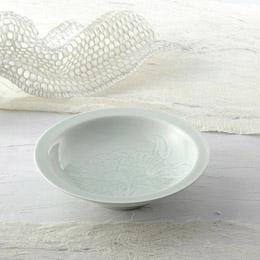 ☆青白磁牡丹絵 飾鉢(木箱入) K91204718