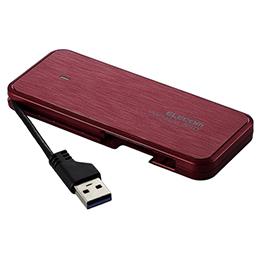 ☆エレコム 外付けSSD/ポータブル/ケーブル収納対応/USB3.2(Gen1)対応/240GB/レッド/データ復旧サービスLite付 ESD-EC0240GRDR