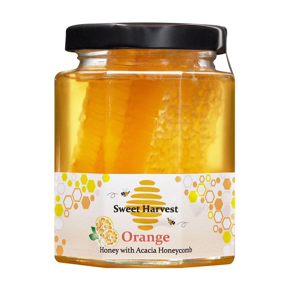 ◎●【送料無料】【代引不可】Sweet Harvest(スイートハーベスト) オレンジはちみつ巣入り 250g×12個セット「他の商品と同梱不可/北海道、沖縄、離島別途送料」