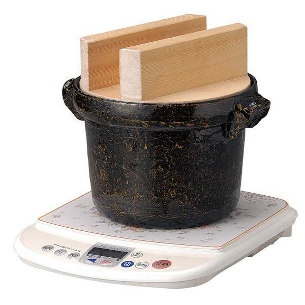 ●【送料無料】117-9 IH対応 電磁用ごはん鍋 5合用 白木蓋付「他の商品と同梱不可/北海道、沖縄、離島別途送料」