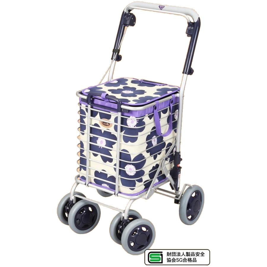 ●【送料無料】ワイヤーカート バッグ付き A-0245H(花柄・ブルー)「他の商品と同梱不可/北海道、沖縄、離島別途送料」
