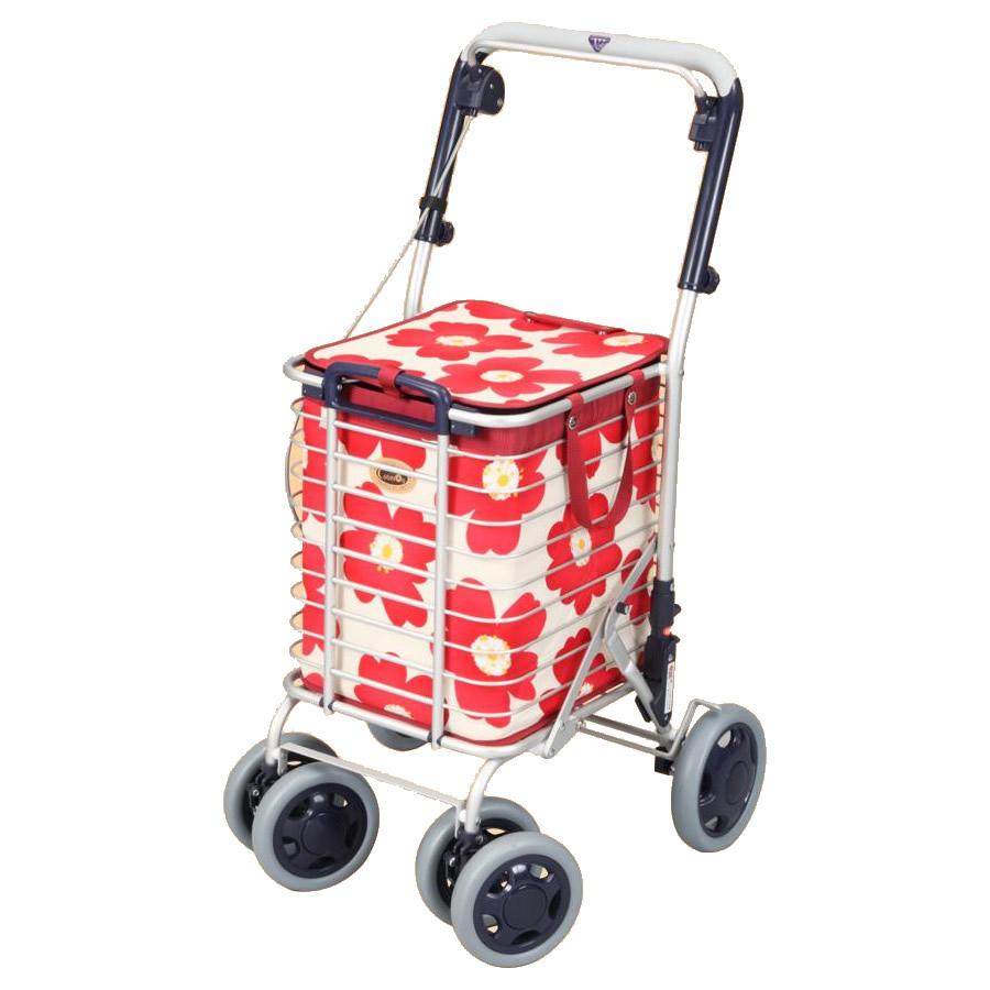 ●【送料無料】ワイヤーカート バッグ付き A-0245H(花柄・レッド)「他の商品と同梱不可/北海道、沖縄、離島別途送料」