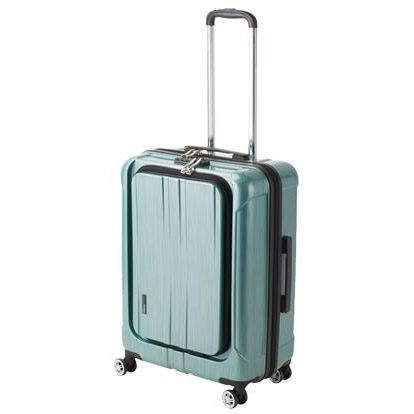 ●【送料無料】協和 ACTUS(アクタス) スーツケース フロントオープン ポライト Lサイズ ACT-005 グリーンヘアライン・74-20357「他の商品と同梱不可/北海道、沖縄、離島別途送料」