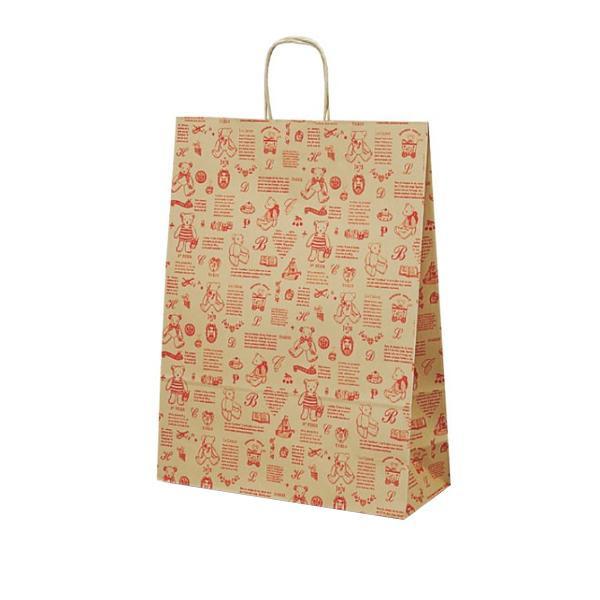 ●【送料無料】【代引不可】T-12 自動紐手提袋 紙袋 紙丸紐タイプ 380×145×500mm 200枚 ベアコレクション(レッド) 1450「他の商品と同梱不可/北海道、沖縄、離島別途送料」