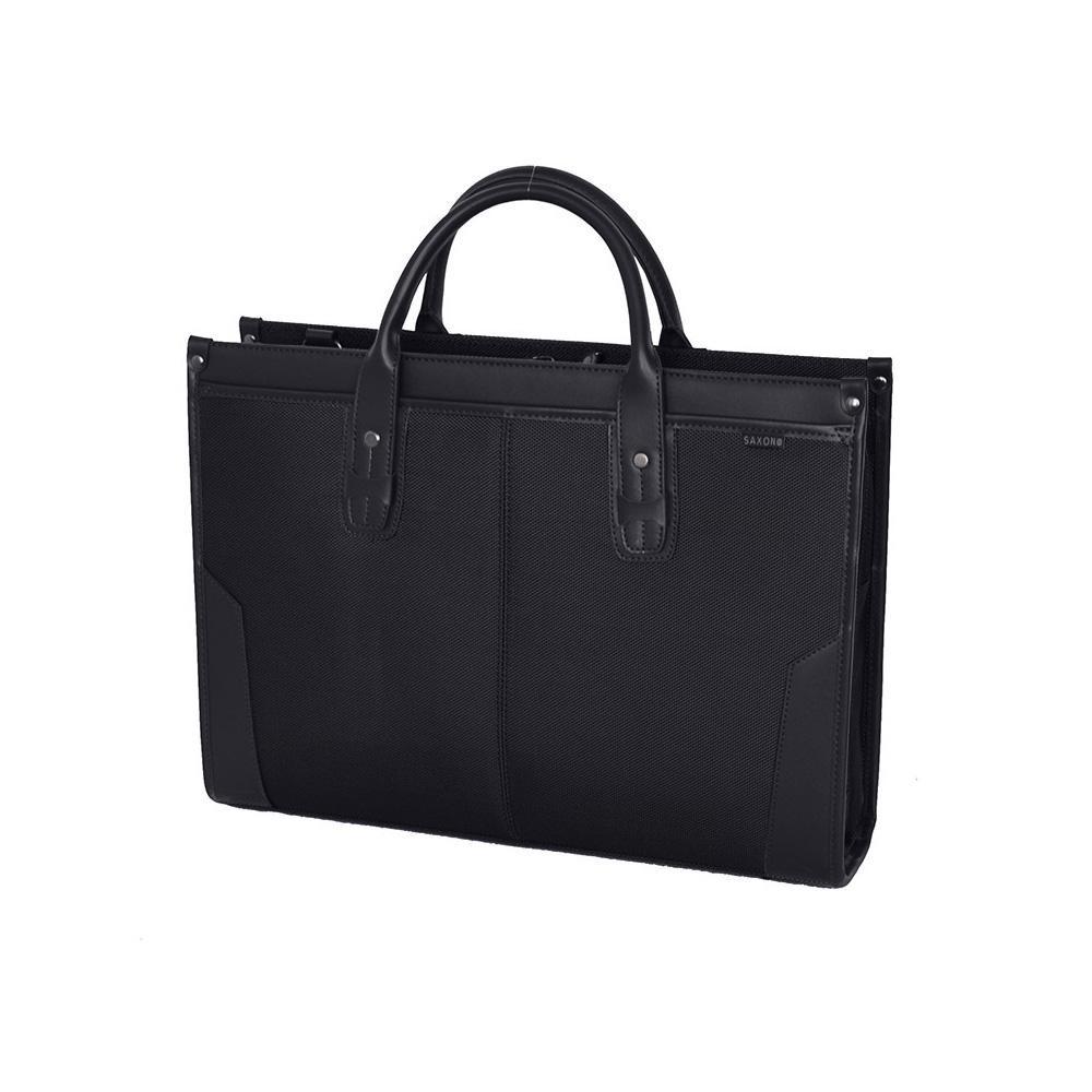 ●【送料無料】SAXON ストライプスタンドビジネスバッグ ブラック 05189「他の商品と同梱不可/北海道、沖縄、離島別途送料」