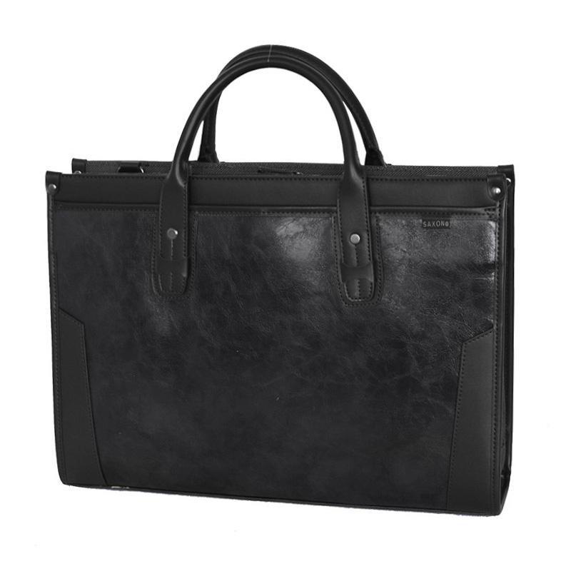 ●【送料無料】SAXON スタンドビジネスバッグ ブラック 05191「他の商品と同梱不可/北海道、沖縄、離島別途送料」
