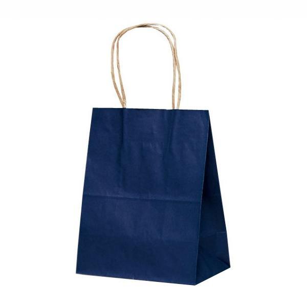 ●【送料無料】T-2 自動紐手提袋 紙袋 紙丸紐タイプ 200×120×250mm 200枚 カラー(紺) 1216「他の商品と同梱不可/北海道、沖縄、離島別途送料」