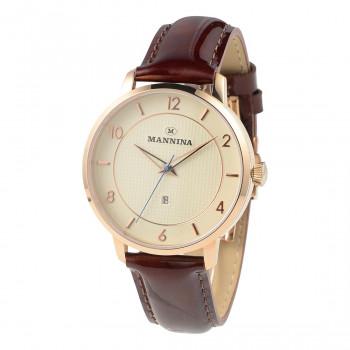 光沢のある上質な革を使っている時計です 送料無料 MANNINA 格安 価格でご提供いたします マンニーナ 腕時計 MNN001-03 売れ筋ランキング 北海道 沖縄 離島別途送料 他の商品と同梱不可 ブラウン