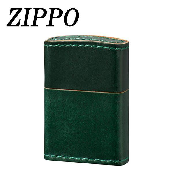 ●【送料無料】ZIPPO 革巻 ブライドルレザー グリーン「他の商品と同梱不可」