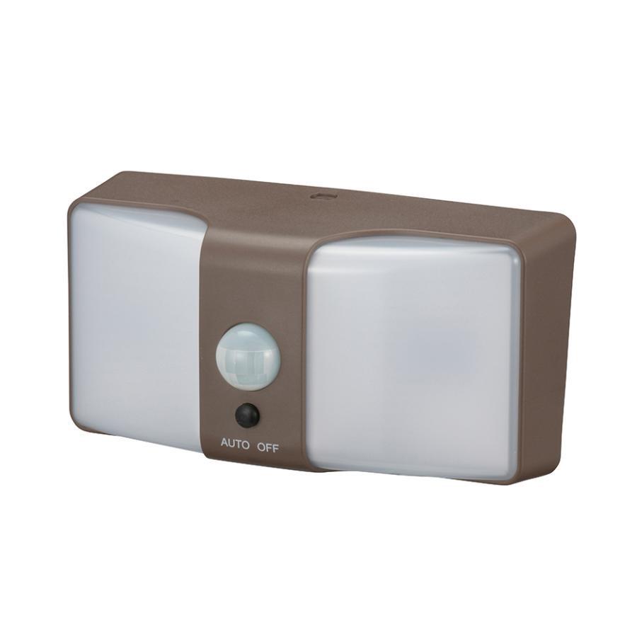 ●【送料無料】OHM monban LEDセンサーウォールライト ソーラー式 ブラウン LS-SH24J4-T「他の商品と同梱不可/北海道、沖縄、離島別途送料」