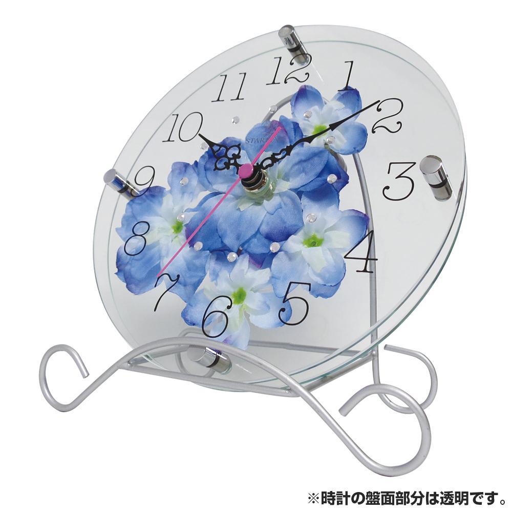 ●【送料無料】アートフラワー 置き時計 BU STW-1195「他の商品と同梱不可/北海道、沖縄、離島別途送料」