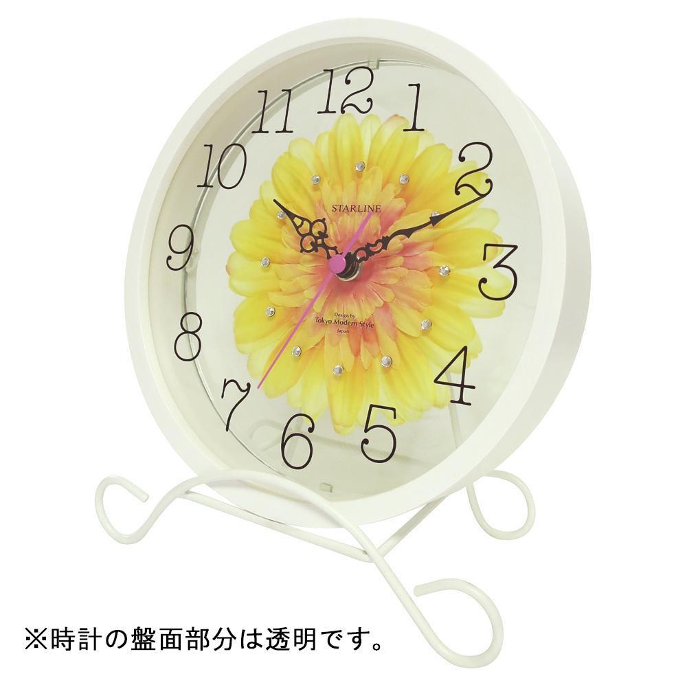 ●【送料無料】アートフラワー 置き時計 YE STW-1203「他の商品と同梱不可/北海道、沖縄、離島別途送料」