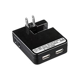 信託 沖縄 離島別途送料 メーカー欠品完売時はご容赦下さい ☆サンワサプライ USB充電タップ型ACアダプタ 出力2.1A×2ポート ACA-IP25BK マート ブラック