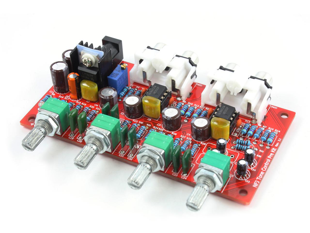 オペアンプ交換の楽しみも!12V単電源駆動 NE5532オペアンプ搭載 トーンコントロール機能付きプリアンプ自作キット Rev3.1_v3
