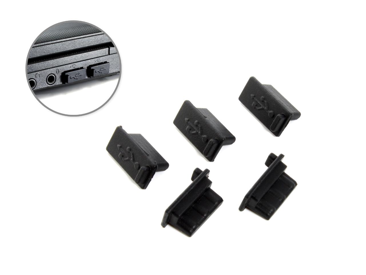 空きポートをホコリや酸化から保護 防塵USBポート保護キャップ ブラック 5個セット USB 端子 コネクタカバー シリコンゴム製 ランキング総合1位 安値 TypeAポート用