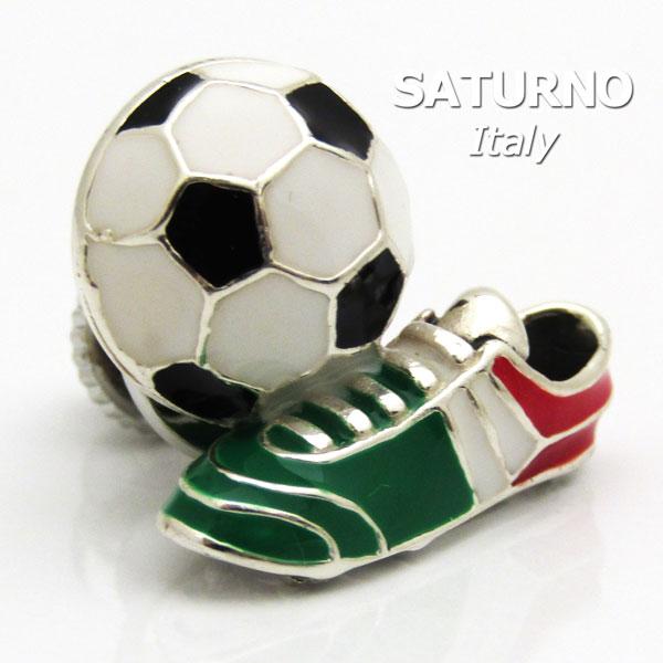 ラペルピン イタリアンカラーのサッカーボール&シューズ サツルノ社 イタリア製