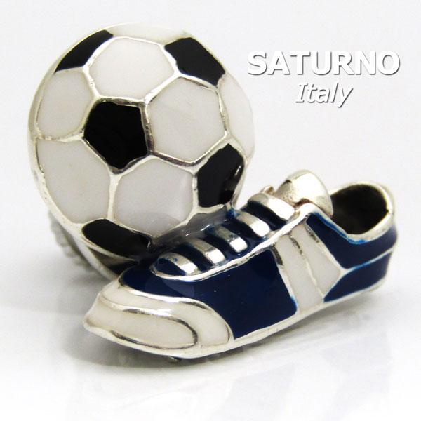 ラペルピン ジャパンブルーのサッカーボール&シューズ サツルノ社 イタリア製