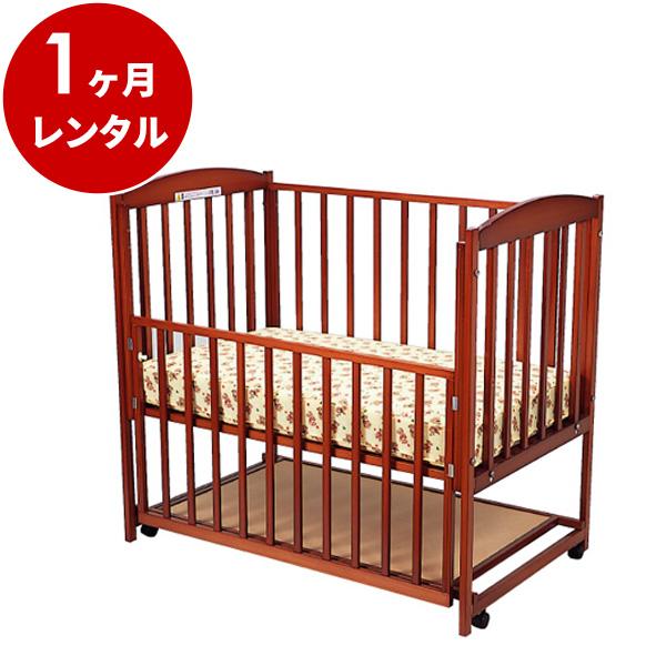 国産木製ベビーベッドすやすやブラウン120(マット別)【1ヶ月レンタル】