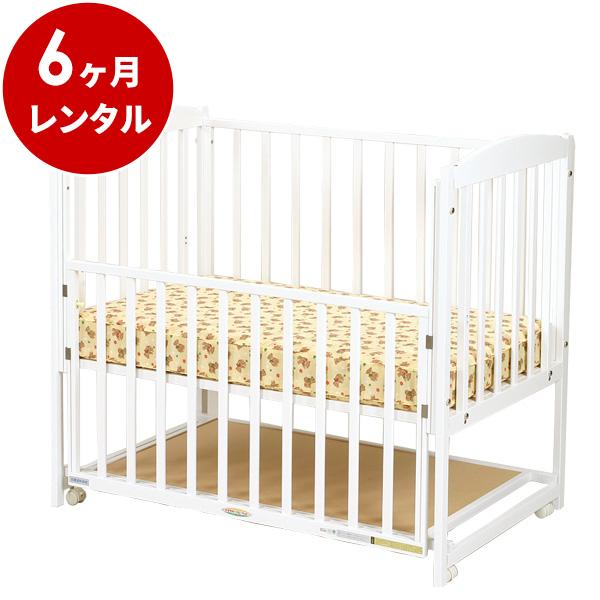 【期間限定特別価格】国産木製ベビーベッドすやすやホワイト120(マット別)【6ヶ月レンタル】赤ちゃん ベビー用品 レンタル