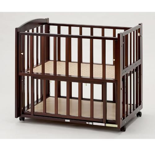 【国産】ビーサイドミニ ダークブラウン(ツーオープン b-side mini)収納棚付(超小型・ミニベッド)添い寝ベッド【ヤマサキ】SS-261BR