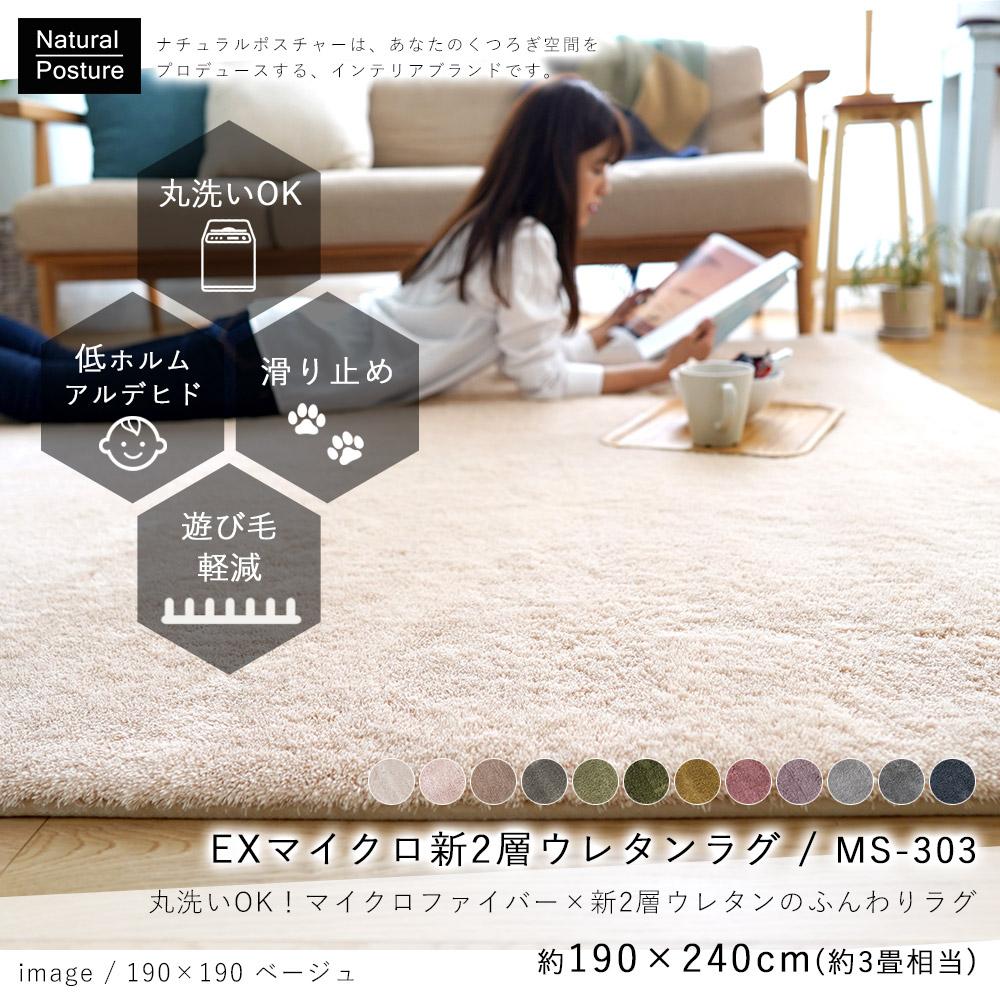 【送料無料】EXマイクロ新2層ウレタンラグマットMS-303(190×240cm)約3帖
