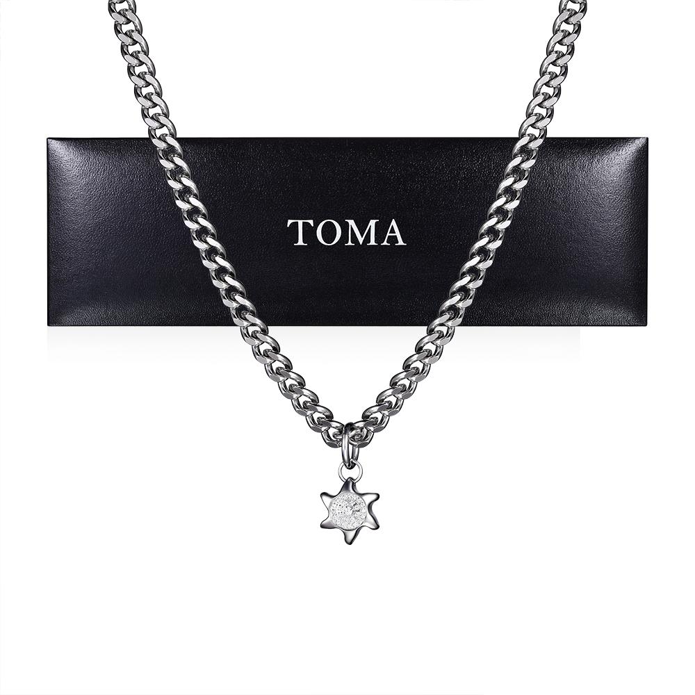 TOMA チタンネックレス 60cm太陽チャーム保証書付き