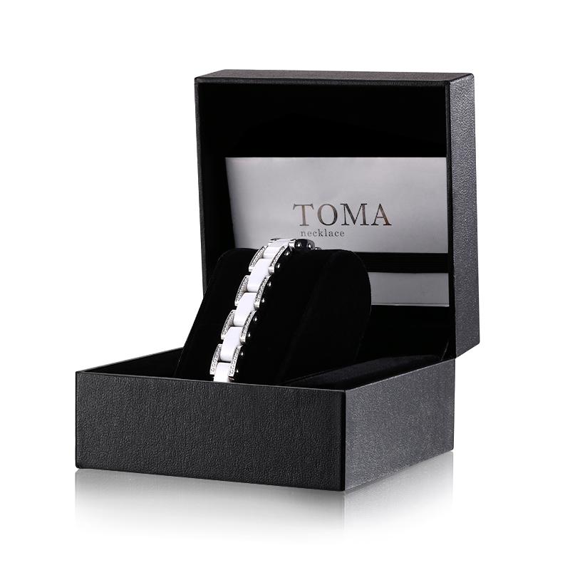 TOMA15F 女性 白セラミックスBダイヤ 磁気ブレスレット シルバー 保証書付き