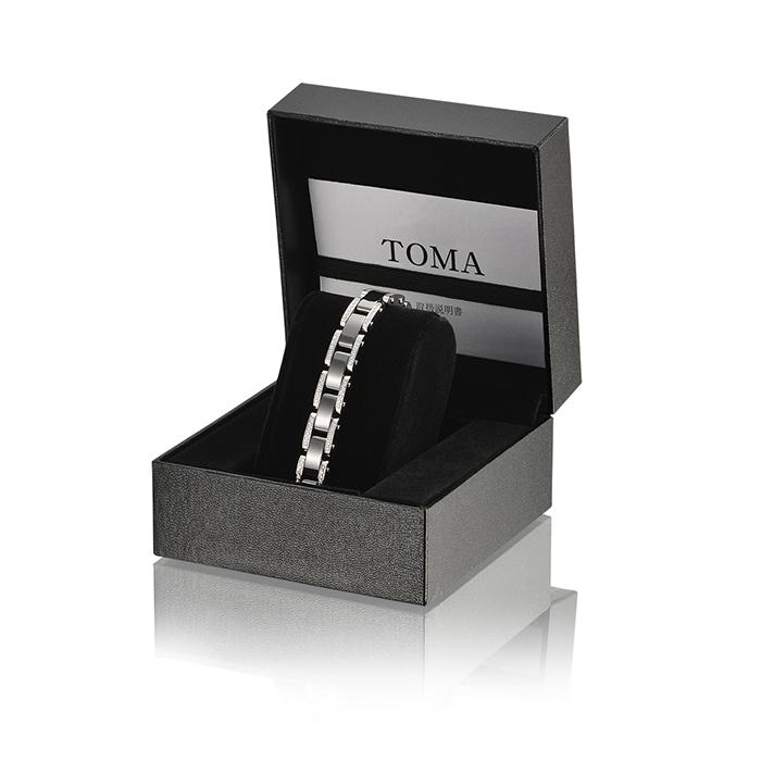 TOMA14F 女性 黒セラミックスBダイヤ 磁気ブレスレット シルバー 保証書付き