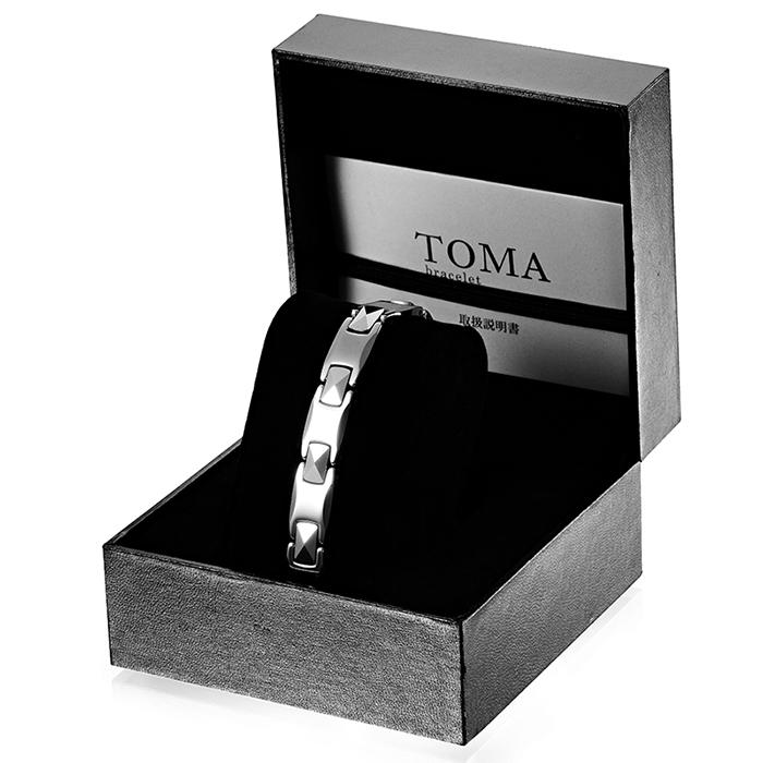 TOMA 2M・2F 磁気ブレスレット シルバー 男性or女性 ゲルマニウム