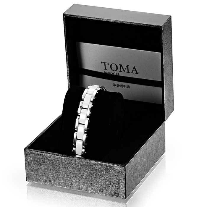 TOMA 10 / 10 F male or female white ceramic magnetic bracelet silver